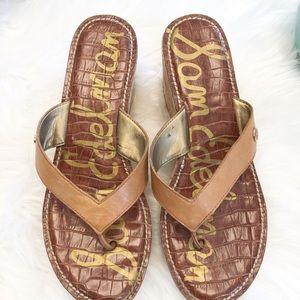 Shoes - SAM EDELMAN brown thong wedge sandals sz 8